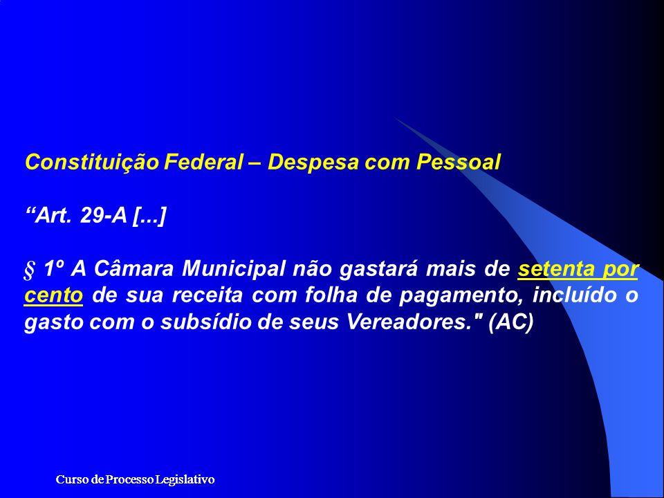 Curso de Processo Legislativo Constituição Federal – Despesa com Pessoal Art. 29-A [...] § 1º A Câmara Municipal não gastará mais de setenta por cento