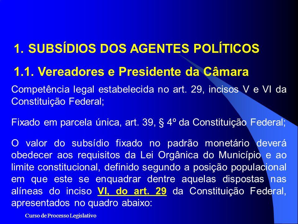 Curso de Processo Legislativo 1. SUBSÍDIOS DOS AGENTES POLÍTICOS 1.1. Vereadores e Presidente da Câmara Competência legal estabelecida no art. 29, inc