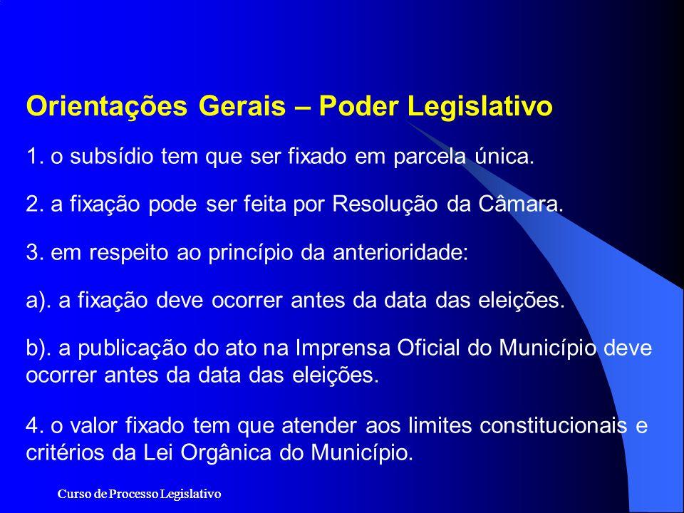 Curso de Processo Legislativo 1. o subsídio tem que ser fixado em parcela única. 2. a fixação pode ser feita por Resolução da Câmara. 3. em respeito a