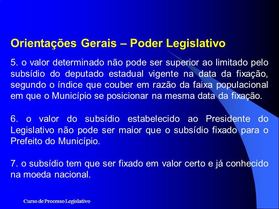 Curso de Processo Legislativo 5. o valor determinado não pode ser superior ao limitado pelo subsídio do deputado estadual vigente na data da fixação,