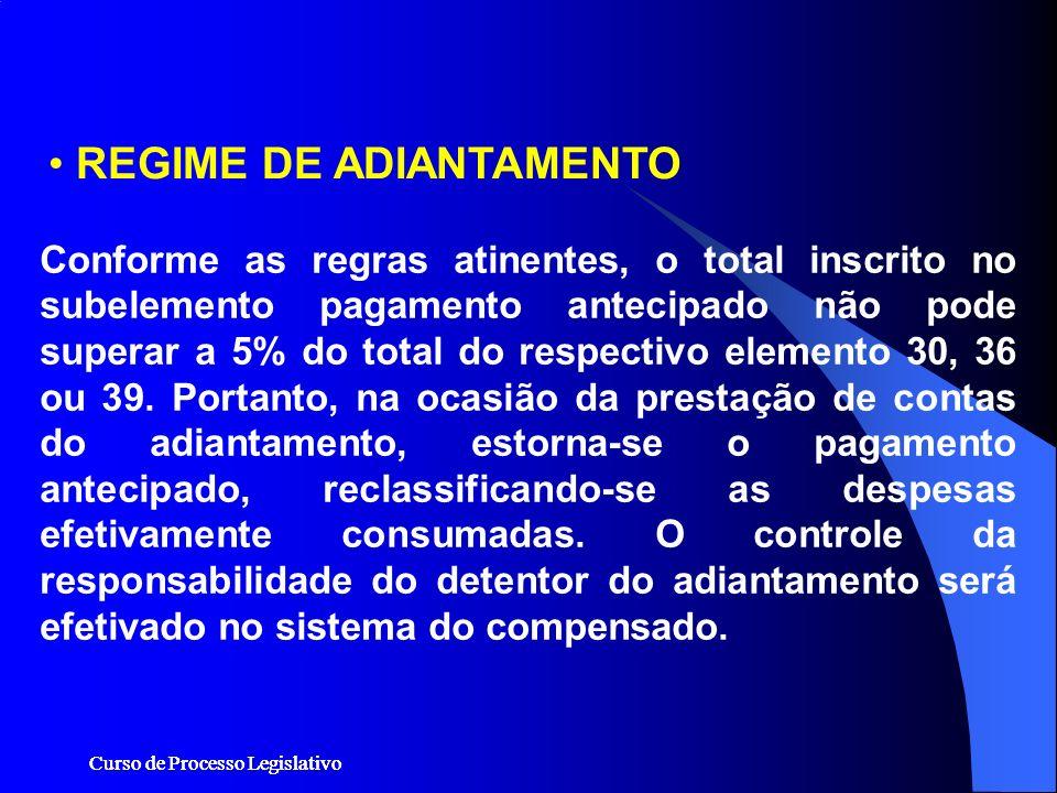 Curso de Processo Legislativo Conforme as regras atinentes, o total inscrito no subelemento pagamento antecipado não pode superar a 5% do total do res