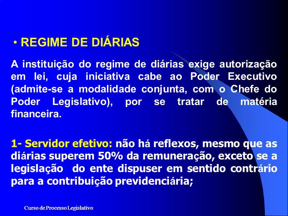 Curso de Processo Legislativo REGIME DE DIÁRIAS 1- Servidor efetivo: não h á reflexos, mesmo que as di á rias superem 50% da remunera ç ão, exceto se