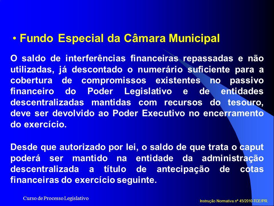 Curso de Processo Legislativo Fundo Especial da Câmara Municipal O saldo de interferências financeiras repassadas e não utilizadas, já descontado o nu