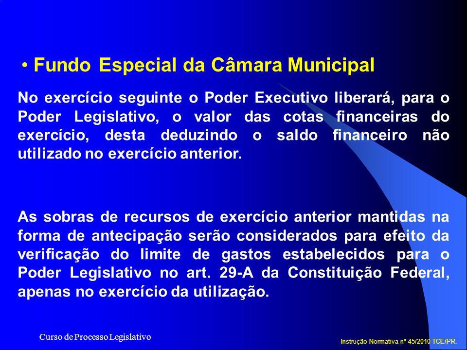 Curso de Processo Legislativo Fundo Especial da Câmara Municipal No exercício seguinte o Poder Executivo liberará, para o Poder Legislativo, o valor d