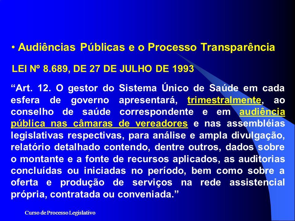 Audiências Públicas e o Processo Transparência Art. 12. O gestor do Sistema Único de Saúde em cada esfera de governo apresentará, trimestralmente, ao