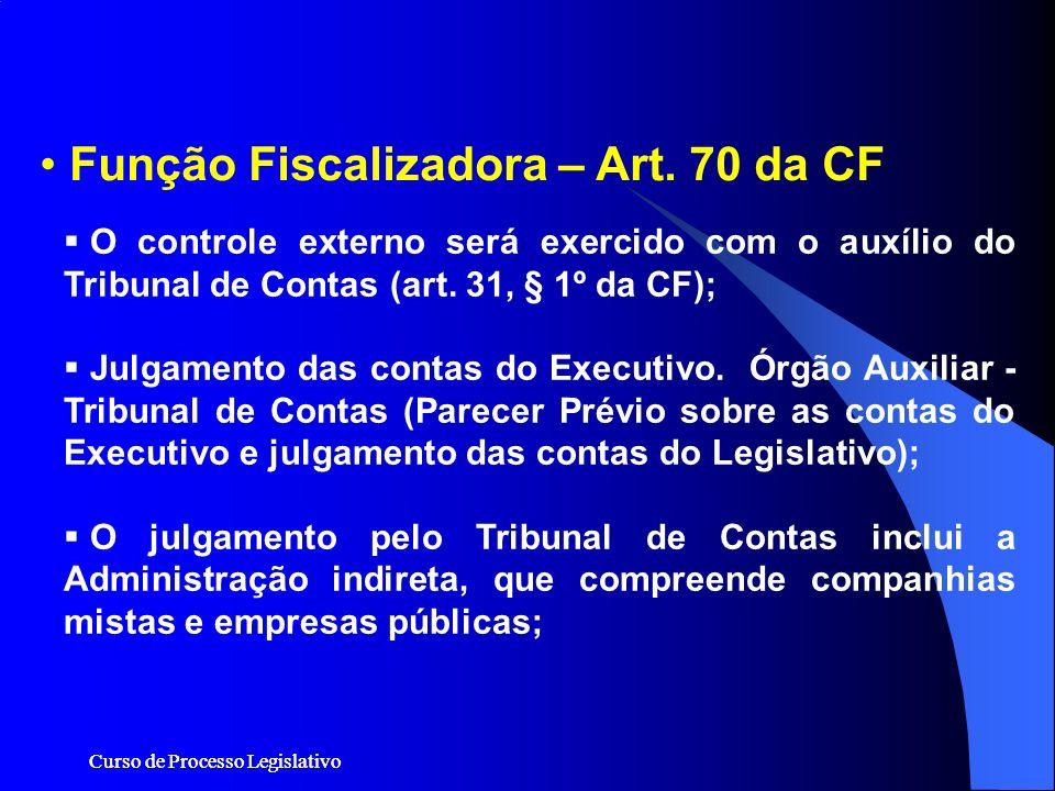 Curso de Processo Legislativo Função Fiscalizadora – Art. 70 da CF O controle externo será exercido com o auxílio do Tribunal de Contas (art. 31, § 1º