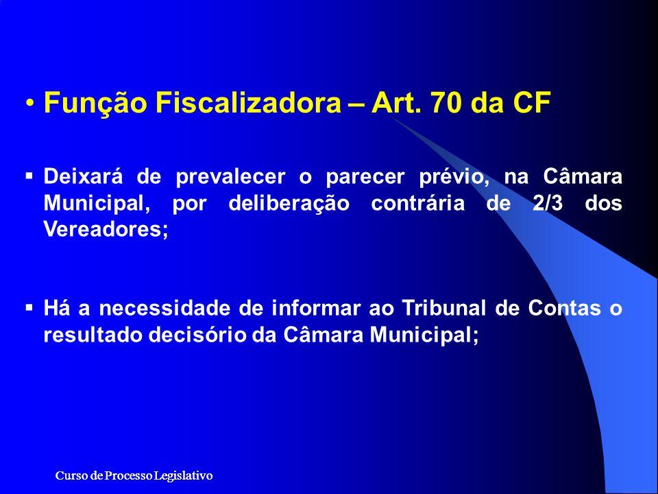 Curso de Processo Legislativo Função Fiscalizadora – Art. 70 da CF Deixará de prevalecer o parecer prévio, na Câmara Municipal, por deliberação contrá