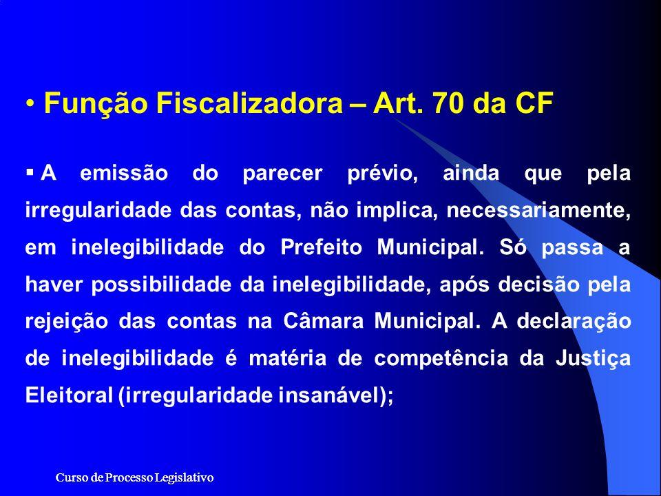 Curso de Processo Legislativo Função Fiscalizadora – Art. 70 da CF A emissão do parecer prévio, ainda que pela irregularidade das contas, não implica,