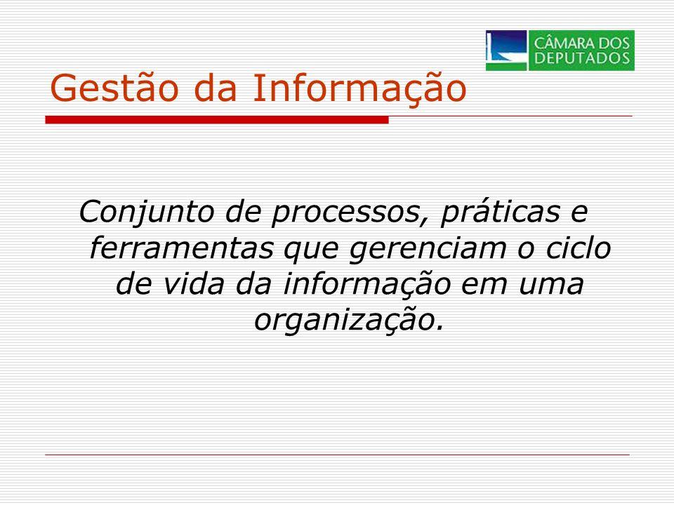 Gestão da Informação Conjunto de processos, práticas e ferramentas que gerenciam o ciclo de vida da informação em uma organização.