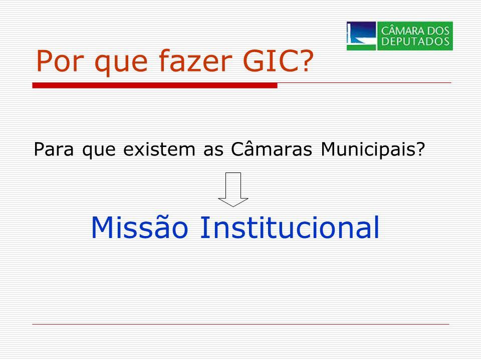Por que fazer GIC? Para que existem as Câmaras Municipais? Missão Institucional