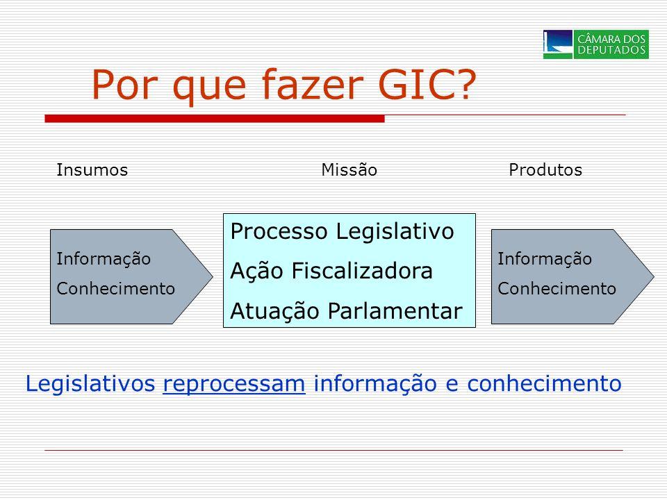 Por que fazer GIC? Informação Conhecimento Processo Legislativo Ação Fiscalizadora Atuação Parlamentar Informação Conhecimento InsumosMissãoProdutos L