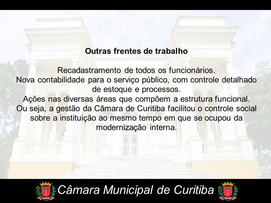 Câmara Municipal de Curitiba Outras frentes de trabalho Recadastramento de todos os funcionários. Nova contabilidade para o serviço público, com contr
