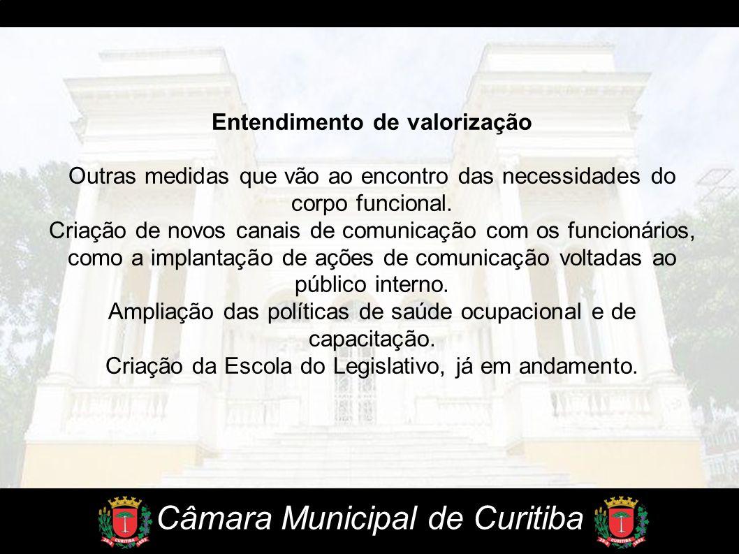 Câmara Municipal de Curitiba Entendimento de valorização Outras medidas que vão ao encontro das necessidades do corpo funcional. Criação de novos cana