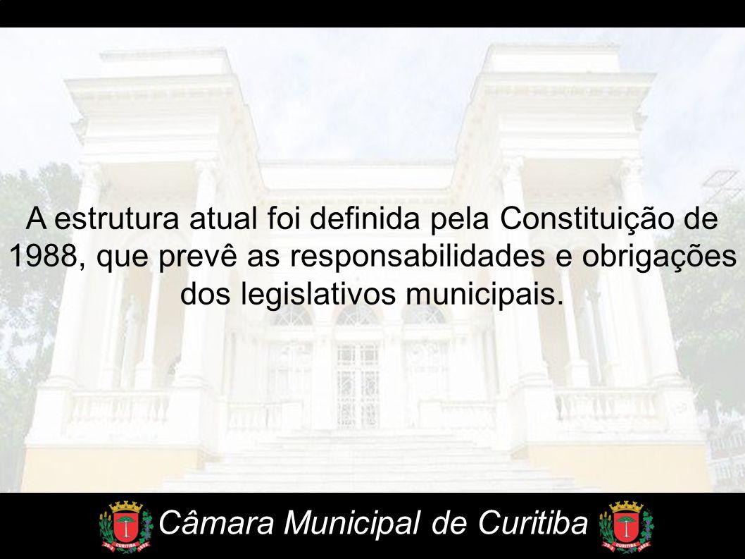 A estrutura atual foi definida pela Constituição de 1988, que prevê as responsabilidades e obrigações dos legislativos municipais. Câmara Municipal de