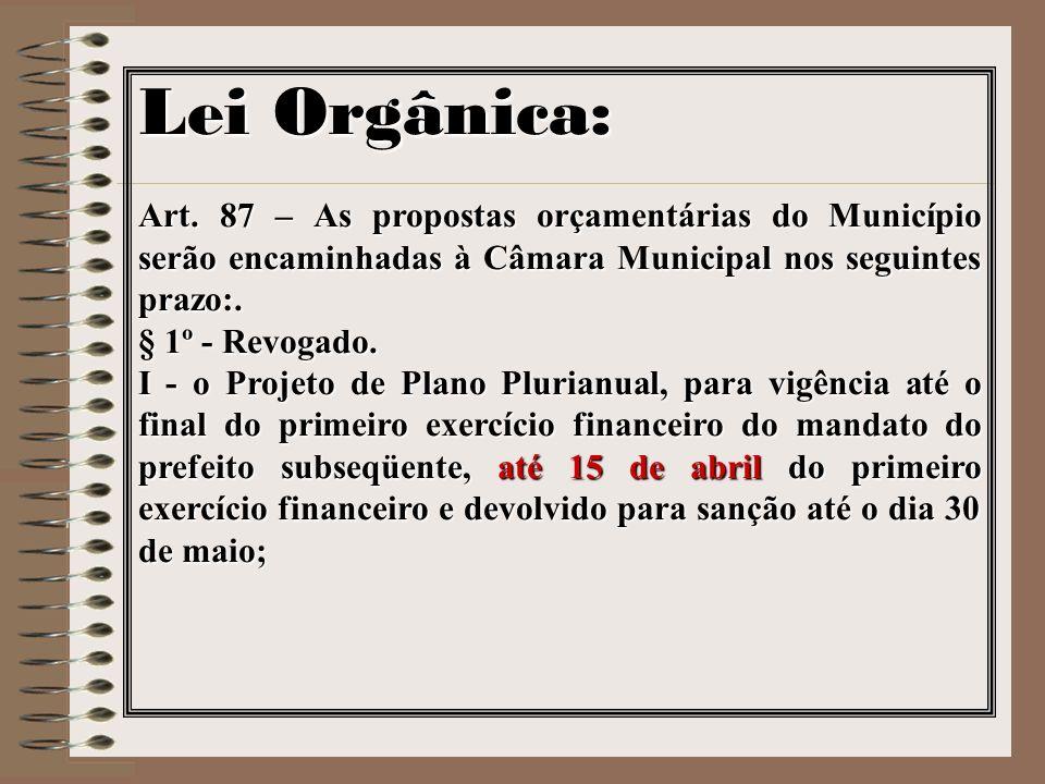 Lei Orgânica: Art. 87 – As propostas orçamentárias do Município serão encaminhadas à Câmara Municipal nos seguintes prazo:. § 1º - Revogado. I - o Pro