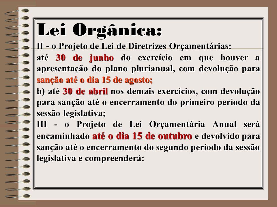 Lei Orgânica: II - o Projeto de Lei de Diretrizes Orçamentárias: até 30 de junho do exercício em que houver a apresentação do plano plurianual, com de