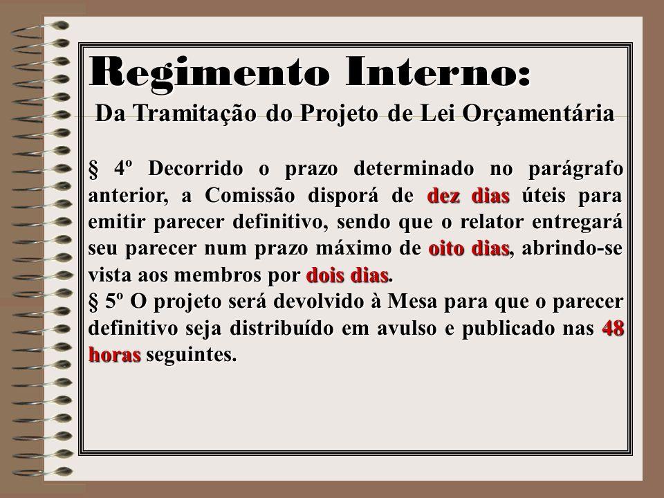 Regimento Interno: Da Tramitação do Projeto de Lei Orçamentária § 4º Decorrido o prazo determinado no parágrafo anterior, a Comissão disporá de dez di