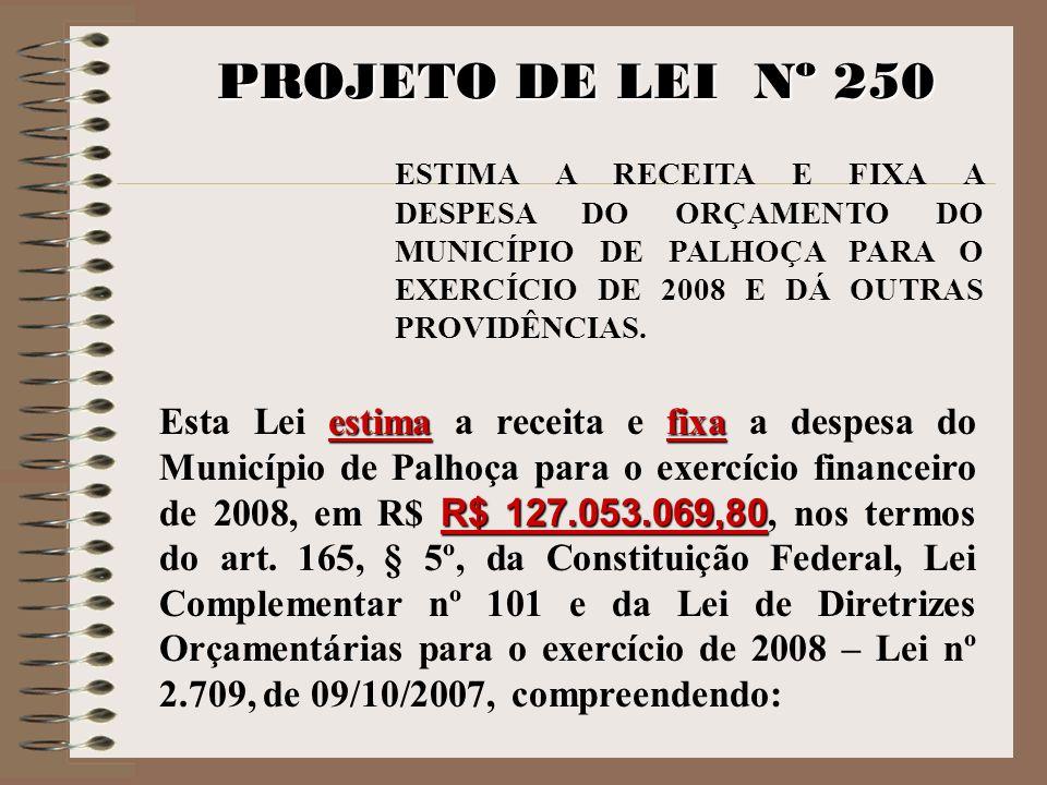 PROJETO DE LEI Nº 250 ESTIMA A RECEITA E FIXA A DESPESA DO ORÇAMENTO DO MUNICÍPIO DE PALHOÇA PARA O EXERCÍCIO DE 2008 E DÁ OUTRAS PROVIDÊNCIAS. estima