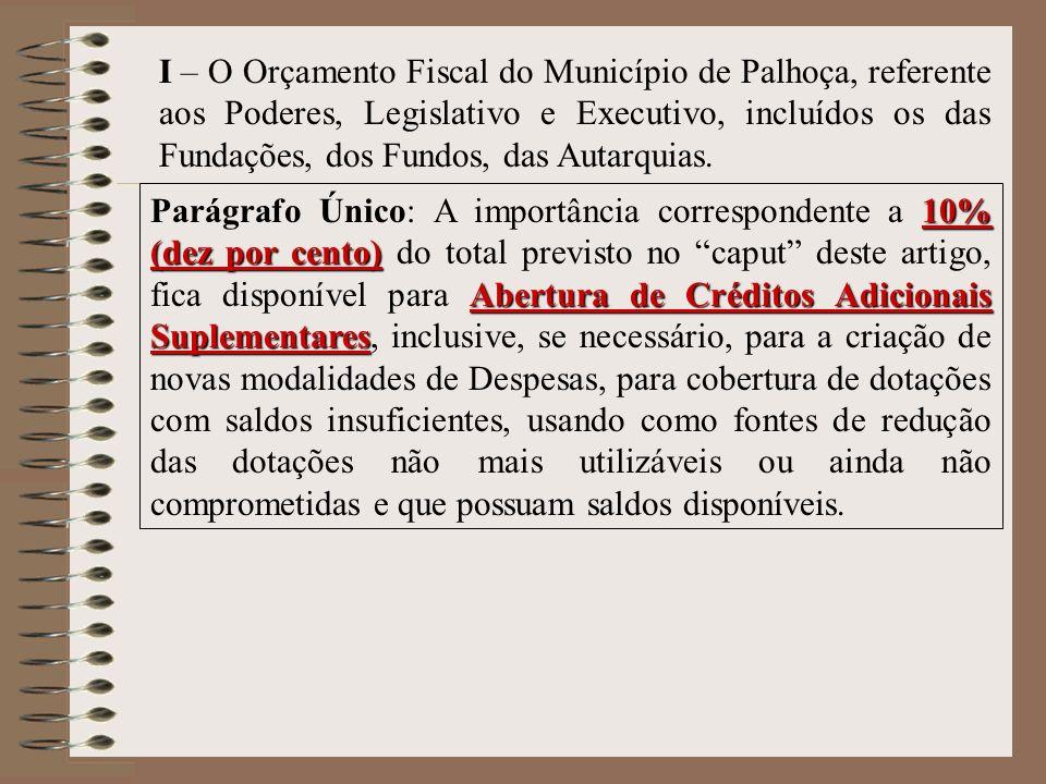 I – O Orçamento Fiscal do Município de Palhoça, referente aos Poderes, Legislativo e Executivo, incluídos os das Fundações, dos Fundos, das Autarquias