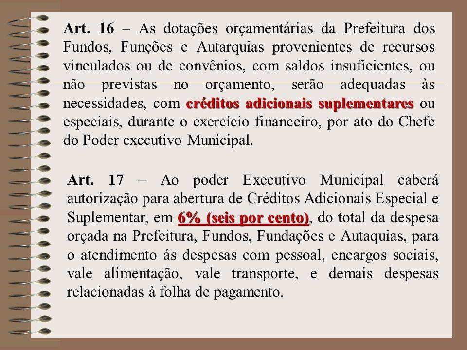 créditos adicionais suplementares Art. 16 – As dotações orçamentárias da Prefeitura dos Fundos, Funções e Autarquias provenientes de recursos vinculad
