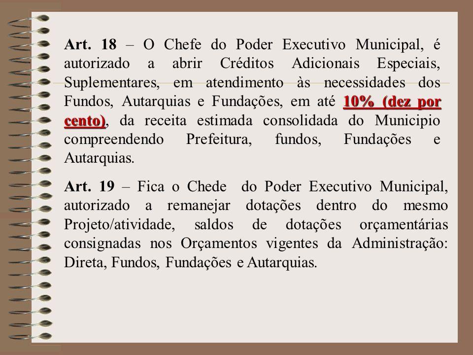 10% (dez por cento) Art. 18 – O Chefe do Poder Executivo Municipal, é autorizado a abrir Créditos Adicionais Especiais, Suplementares, em atendimento