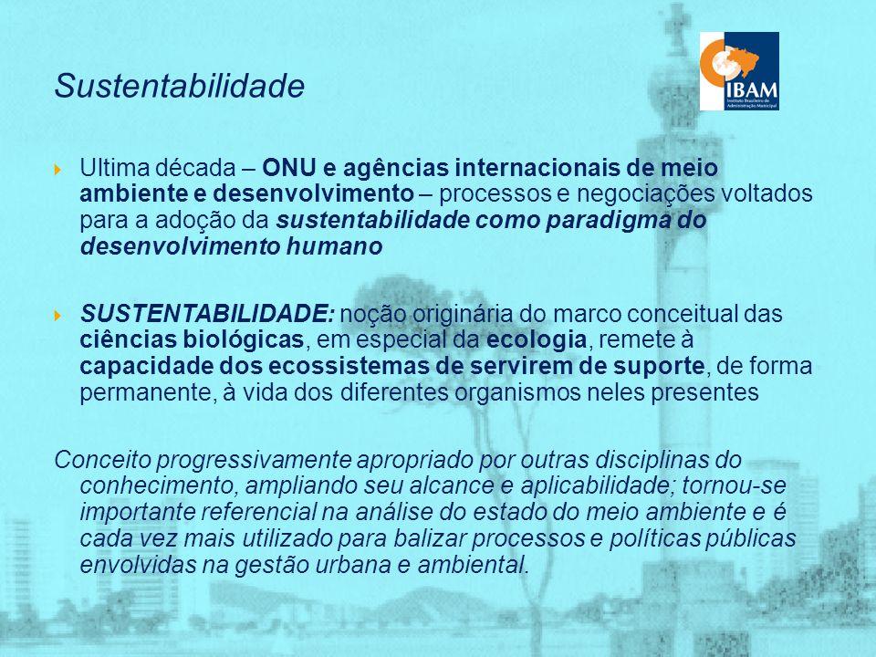 Sustentabilidade A Conferencia do Habitat II alertou para: o agravamento de grandes problemas sociais, resultantes de elevadas densidades e de altas taxas anuais de crescimento de futuras metrópoles; a criação de uma nova configuração de metrópoles globais, fortemente vinculadas, constituindo uma rede global; a internacionalização de interesses e de políticas locais das grandes cidades; a ampliação de serviços fornecidos por essas cidades a usuários que não habitam nela; o risco de não sustentabilidade da qualidade de vida nas cidades, pela destruição de recursos naturais e do patrimônio cultural que possuem ou pela gestão e operação pouco cautelosas e não planejadas de seus serviços.