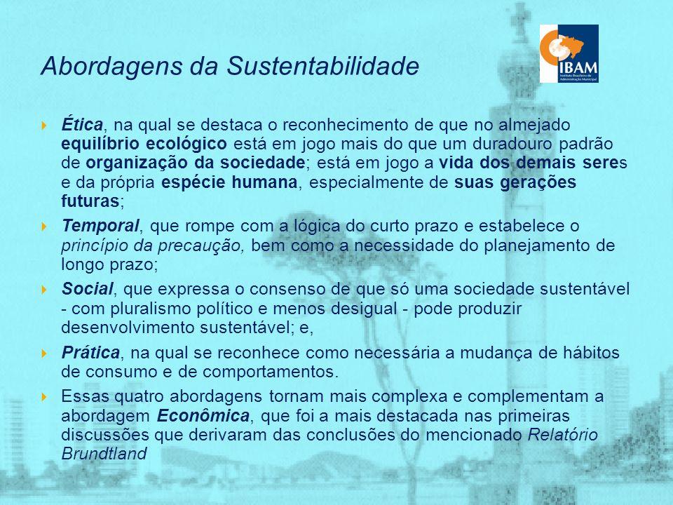 Sustentabilidade Ampliada – encontro político entre a agenda estritamente ambiental e a agenda social; – associação entre os fatores sociais e os ambi