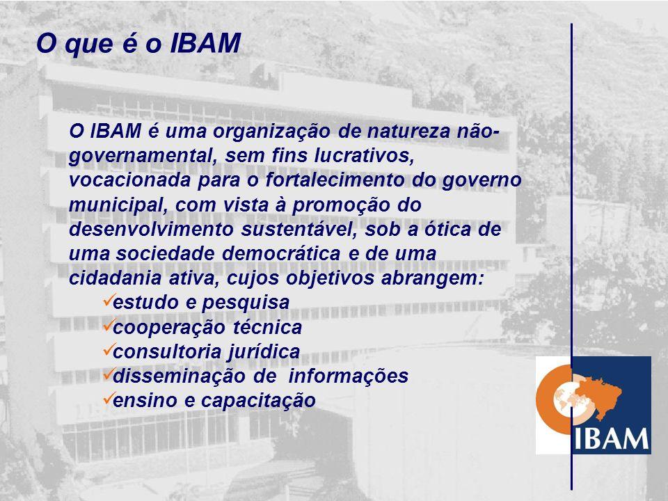 Criação do IBAM O Instituto Brasileiro de Administração Municipal - IBAM foi criado em 1° de Outubro de 1952, na cidade do Rio de Janeiro. Sua constit