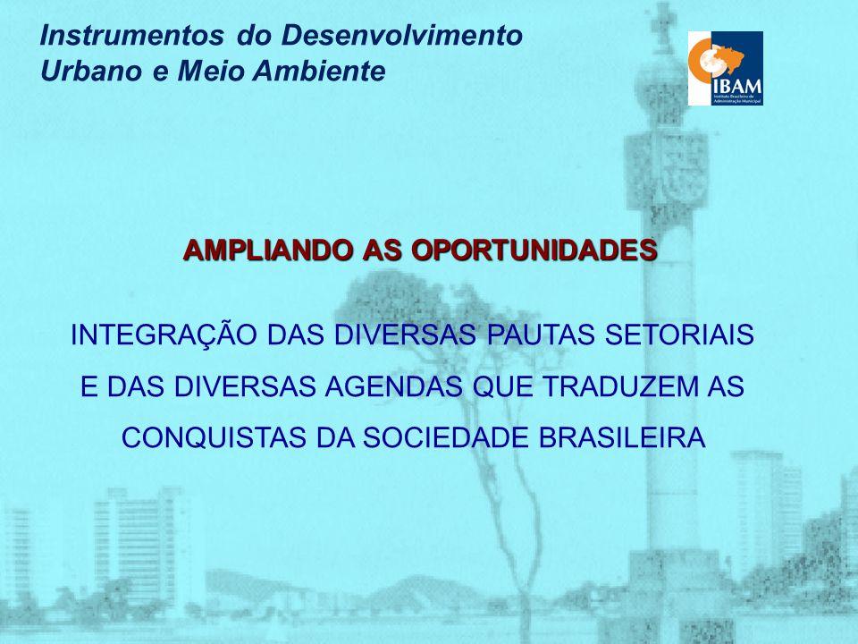 Instrumentos do Desenvolvimento Urbano e Meio Ambiente O Planejamento como Processo Contínuo relação governo/sociedade compromisso com as propostas do