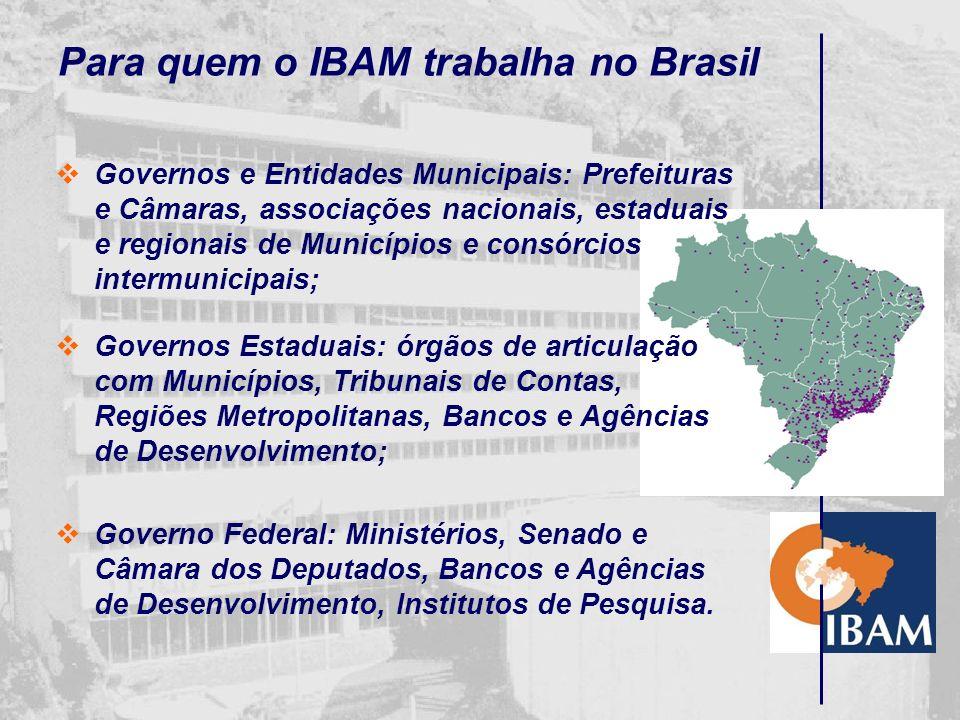 O que é o IBAM O IBAM é uma organização de natureza não- governamental, sem fins lucrativos, vocacionada para o fortalecimento do governo municipal, c