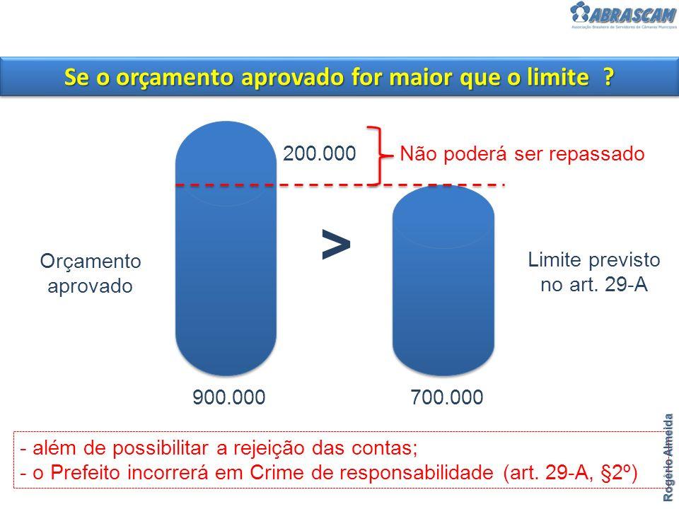 > Orçamento aprovado Limite previsto no art. 29-A - além de possibilitar a rejeição das contas; - o Prefeito incorrerá em Crime de responsabilidade (a