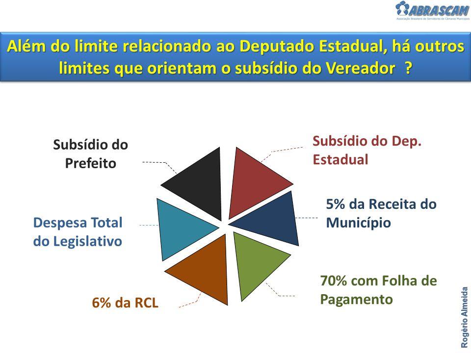 Rogério Almeida Além do limite relacionado ao Deputado Estadual, há outros limites que orientam o subsídio do Vereador ? Subsídio do Prefeito Subsídio
