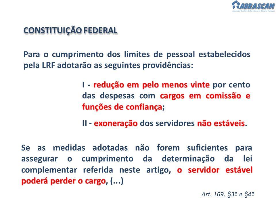 Para o cumprimento dos limites de pessoal estabelecidos pela LRF adotarão as seguintes providências: Art. 169, §3º e §4º redução em pelo menos vinte c