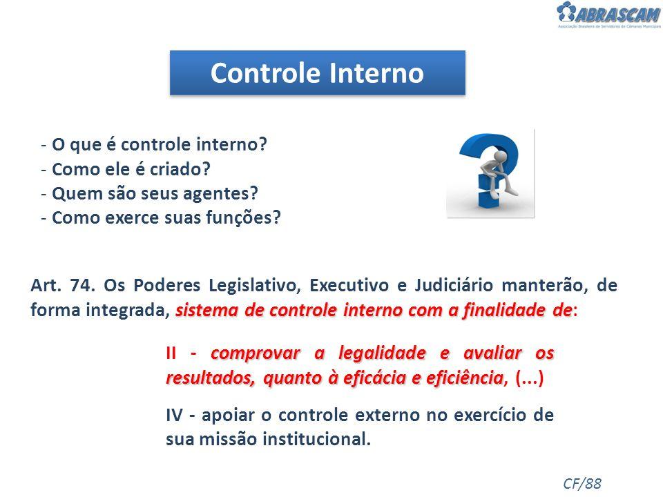 Controle Interno - O que é controle interno? - Como ele é criado? - Quem são seus agentes? - Como exerce suas funções? CF/88 sistema de controle inter