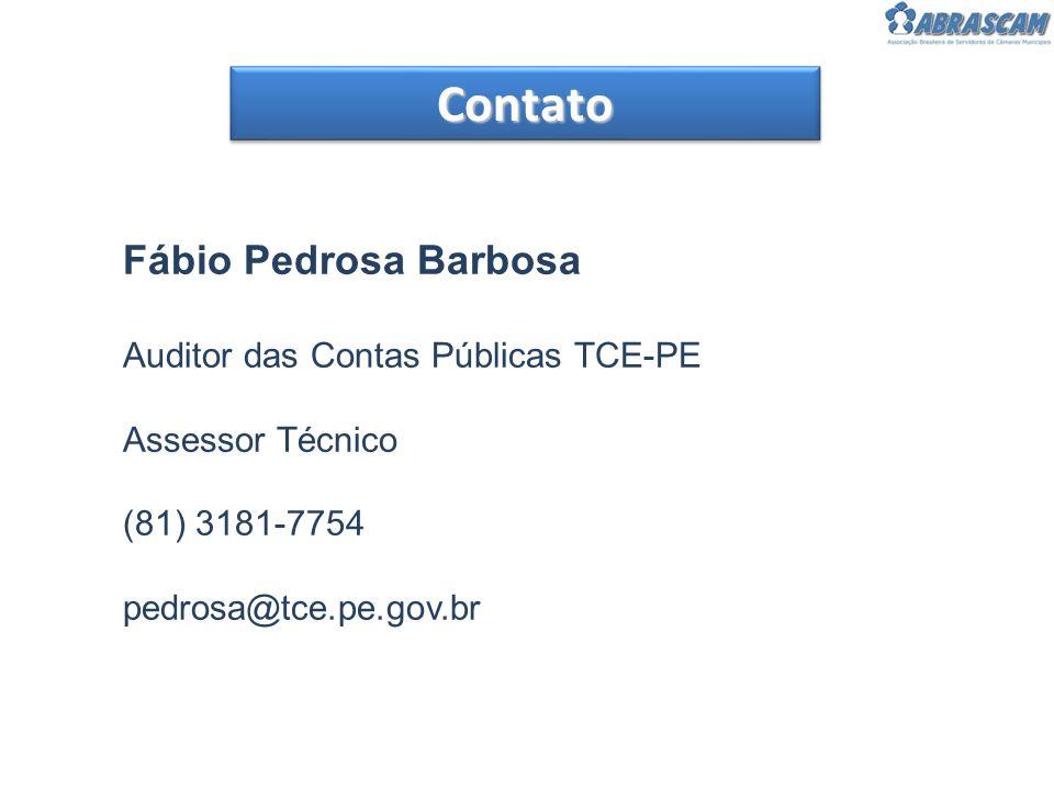 ContatoContato Fábio Pedrosa Barbosa Auditor das Contas Públicas TCE-PE Assessor Técnico (81) 3181-7754 pedrosa@tce.pe.gov.br