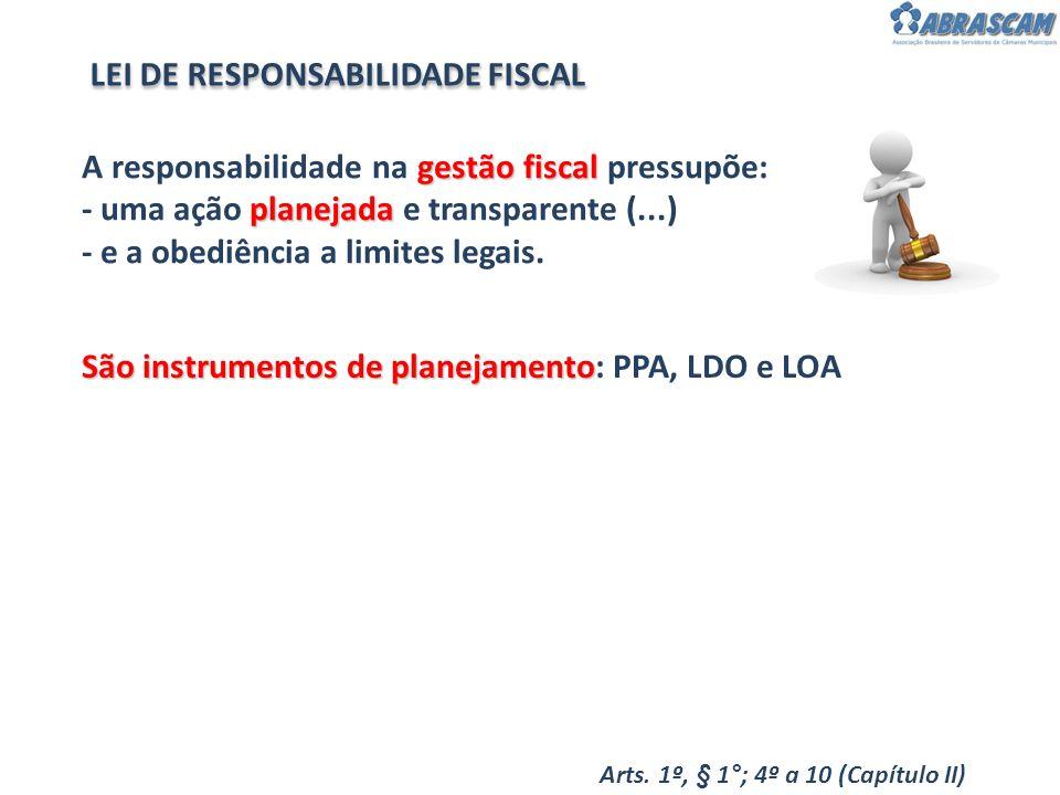 gestão fiscal planejada A responsabilidade na gestão fiscal pressupõe: - uma ação planejada e transparente (...) - e a obediência a limites legais. Sã