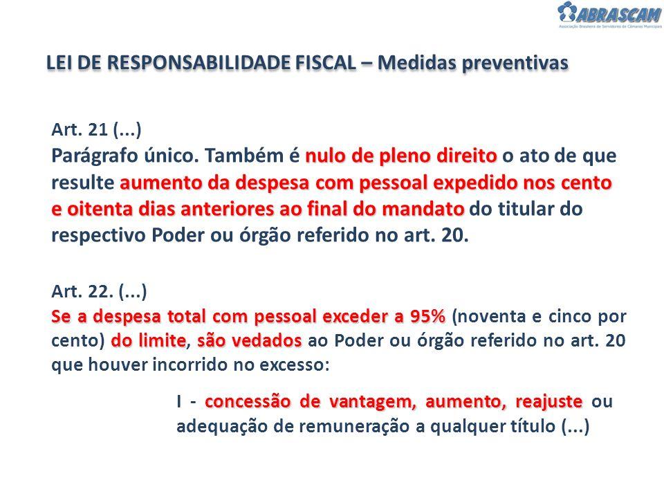 LEI DE RESPONSABILIDADE FISCAL – Medidas preventivas Art. 22. (...) Se a despesa total com pessoal exceder a 95% do limitesão vedados Se a despesa tot