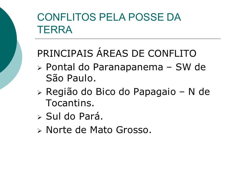 CONFLITOS PELA POSSE DA TERRA PRINCIPAIS ÁREAS DE CONFLITO Pontal do Paranapanema – SW de São Paulo.