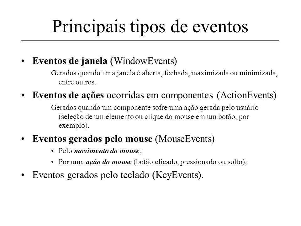 Em Java, cada componente de interface tem seu conjunto específico de eventos. Labels Frame TextFields Panel Button Principais tipos de eventos Logo, e