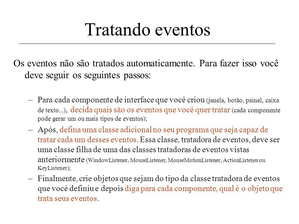 Tipos de tratadores de eventos Logo, o Java possui 5 tipos básicos de tratadores de eventos que você pode utilizar em seus programas: –WindowListener