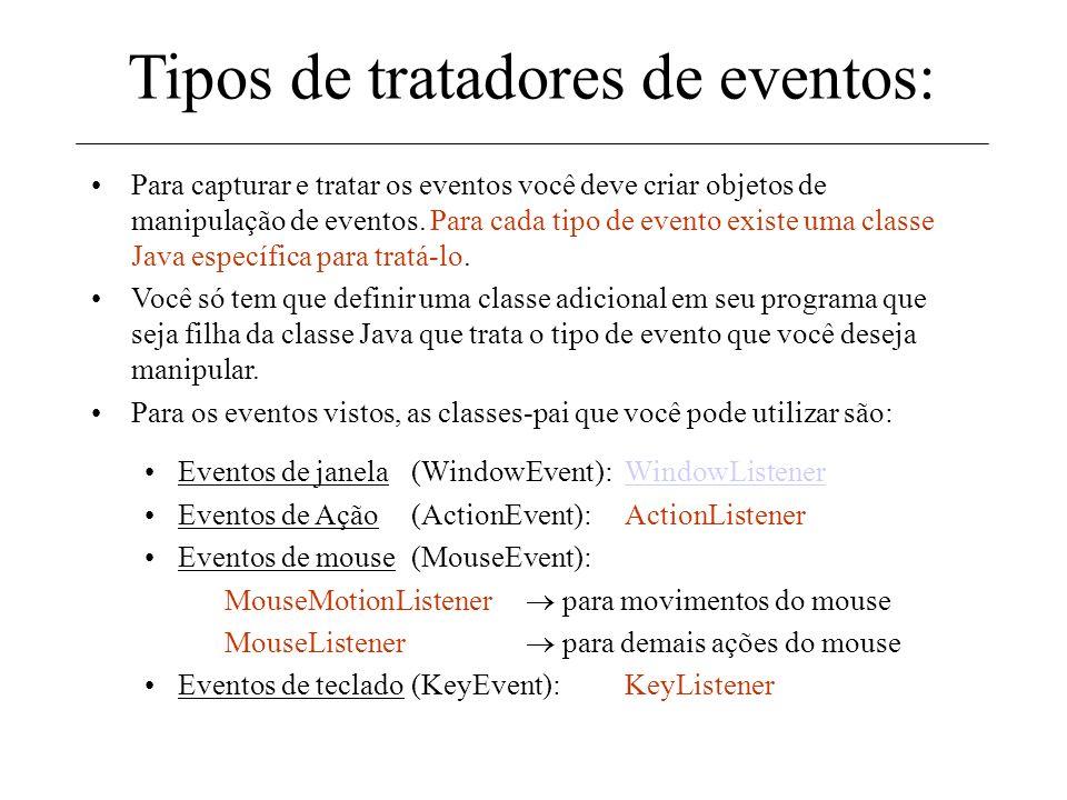 Tratando eventos Os eventos não são tratados automaticamente. Para fazer isso você deve seguir os seguintes passos: –Para cada componente de interface