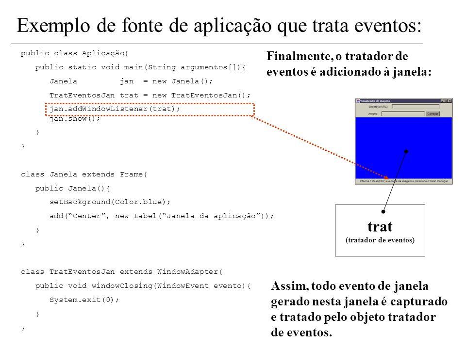 Ele é criado de acordo com a classe definida para tratar eventos! trat (tratador de eventos) public class Aplicação{ public static void main(String ar
