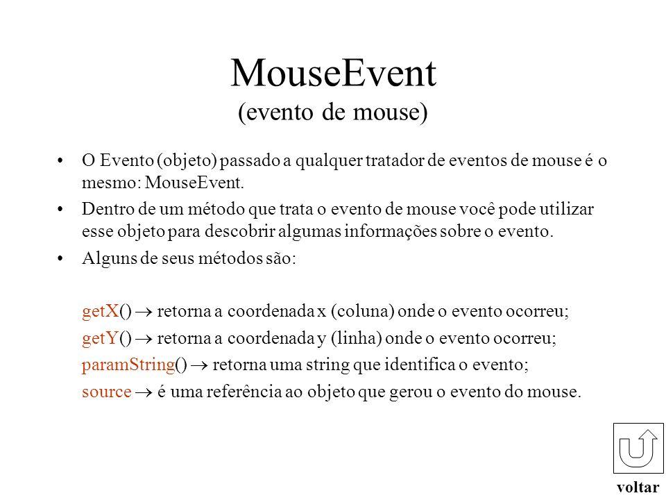 WindowEvent (evento de janela) voltar O Evento (objeto) passado ao tratador de eventos de janela é o WindowEvent. Dentro de um método que trata os eve