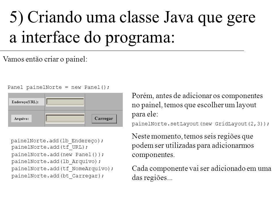 Carregar Endereço(URL): Arquivo: 5) Criando uma classe Java que gere a interface do programa: Uma solução consiste em colocá-los dentro de um único pa