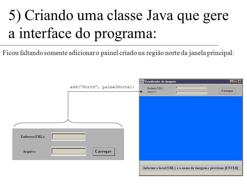 5) Criando uma classe Java que gere a interface do programa: Vamos então criar o painel: Panel painelNorte = new Panel(); Porém, antes de adicionar os