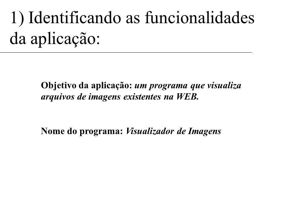 1) Identificando as funcionalidades da aplicação: Objetivo da aplicação: um programa que visualiza arquivos de imagens existentes na WEB.