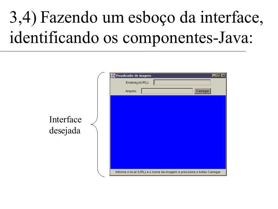class Janela extends Frame { public Label lb_Endereco; public Label lb_Arquivo; public Label lb_Mensagem; public TextField tf_URL; public TextField tf_NomeArquivo; public Button bt_Carregar; public Panel pn_Imagem; public Janela() { lb_Endereco = new Label(Endereço (URL):); lb_Arquivo = new Label(Arquivo:); lb_Mensagem = new Label(Informe o...); tf_URL = new TextField(, 28); tf_NomeArquivo = new TextField(, 25); bt_Carregar = new Button(Carregar); pn_Imagem = new Panel() 5) Criando uma classe Java que gere a interface do programa: Todas essas adições vão dentro do construtor da classe: Panel painelNorte = new Panel(); painelNorte.setLayout(new GridLayout(2,3)); painelNorte.setBackground(Color.white)); painelNorte.add(lb_Endereco); painelNorte.add(tf_URL); painelNorte.add(new Panel()); painelNorte.add(lb_Arquivo); painelNorte.add(tf_NomeArquivo); painelNorte.add(bt_Carregar); lb_Mensagem.setBackground(Color.white)); lb_Mensagem.setForeground(Color.red)); this.setLayout(new BorderLayout()); this.add(North, painelNorte); this.add(Center, pn_Imagem); this.add(South, lb_Mensagem); }
