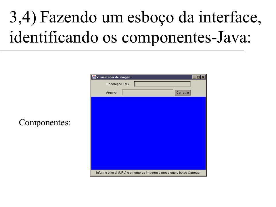 Componentes: 3,4) Fazendo um esboço da interface, identificando os componentes-Java: