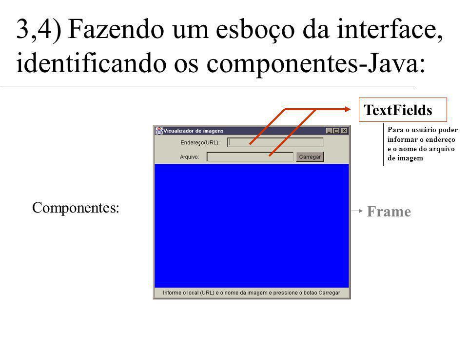 3,4) Fazendo um esboço da interface, identificando os componentes-Java: Componentes: TextFields Para o usuário poder informar o endereço e o nome do arquivo de imagem Frame
