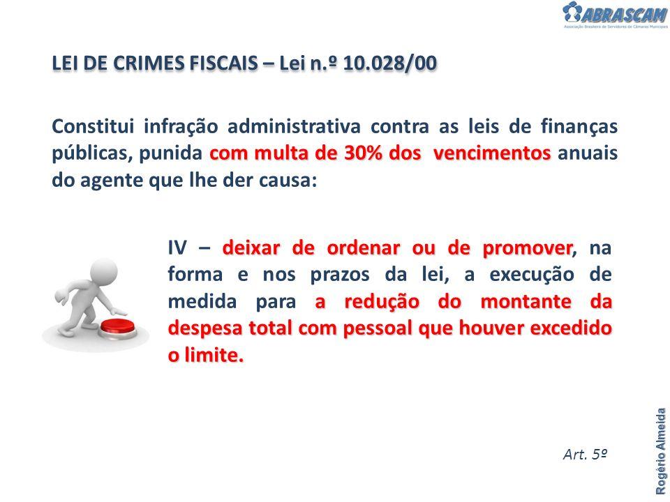 Rogério Almeida com multa de 30% dos vencimentos Constitui infração administrativa contra as leis de finanças públicas, punida com multa de 30% dos ve